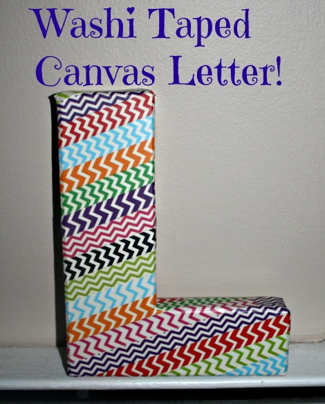 washi taped canvas letter